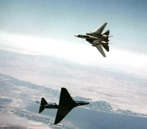 An F-14 Tomcat and A-4 Skyhawk dogfighting in TOPGUN