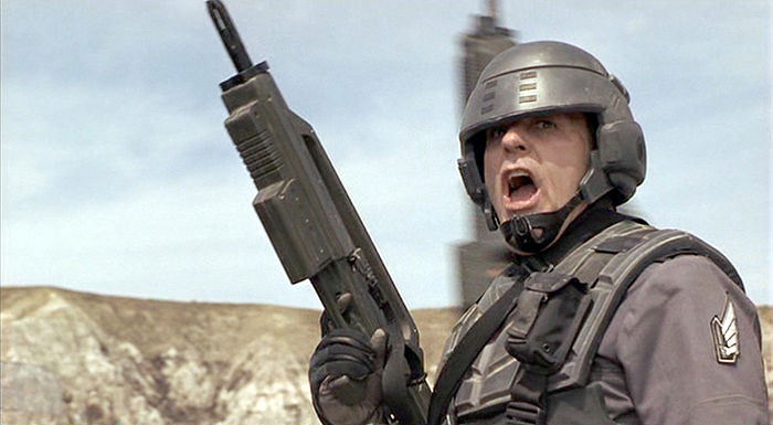 Michael Ironside as Razak in Starship Troopers. The movie blended this character with Lt. Col Jean V. Dubois