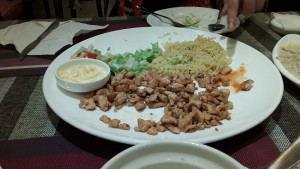 Chicken, rice, and salad plate at Lebanese restaurant in Guangzhou, China