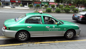 A taxi in Guangzhou, China
