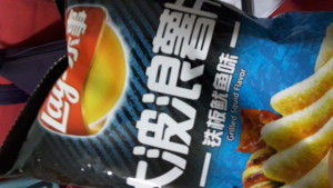 Grilled Squid Lays is one type of odd snack here in China
