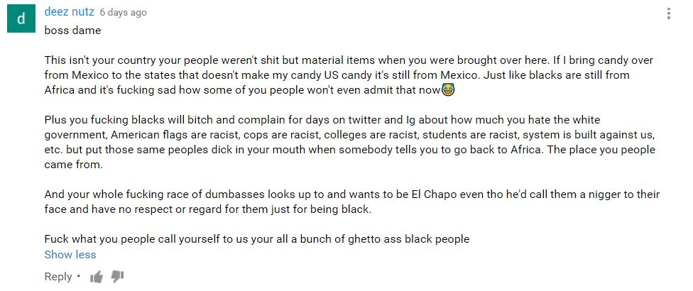 Mexican racist comment on YouTube