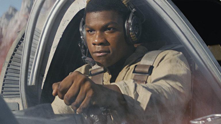 Finn piloting a craft in Star Wars: The Last Jedi